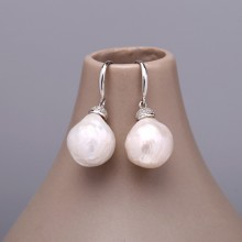 Aobei Pearl Handmade Earring made of 14-16 mm Keshi Freshwater Pearls & 925 String Silver Earring Accessory, Pearl Earring, Silver Earring, Dangle Earring, Diamonds Earring, ETS-E121