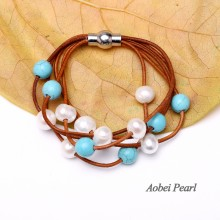 Aobei Pearl, Handmade Bracelet with Magnetic Clasp, Turquoise, Freshwater Pearl & Genuine leather Cord,  Leather Pearl Bracelet, Turquoise Bracelet, Wrap Bracelet, ETS-B184