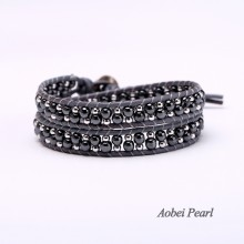 Aobei Pearl Handmade Bracelet made of Hematite and Copper Beads Plated with White Gold on Genuine Leather Cord, Beaded Bracelet, Wrap Bracelet, ETS-B0049