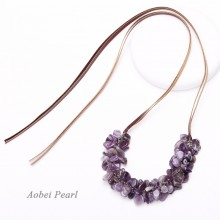 Aobei Pearl, Handmade Semi-precious Necklace with Natural Gemstones and Flat Genuine Leather Cord, Natural Amethyst Necklace, Bib Necklace, Adjustable Necklace, ETS-S946