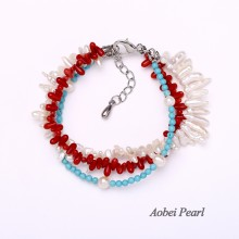 Aobei Pearl Handmade Bracelet made of Freshwater Pearl, Turquoise and Natural Red Coral, Beaded Bracelet, Pearl Bracelet, Wrap Bracelet, ETS-B120