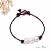 Aobei Pearl Handmade Bracelet with Freshwater Pearl and Genuine Leather Cord, Pearl Beaded Bracelet, Leather Bracelet, ETS-B124