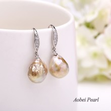 Aobei Pearl Handmade Earring made of 12-13 mm Keshi Freshwater Unclear Pearl and 925 String Silver Accessory with Diamonds, Dangle Earring, Pearl Earring, ETS-E125