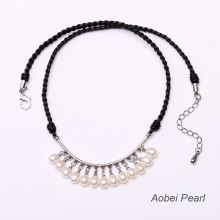 Aobei Pearl Handmade Necklace made of Freshwater Pearl and Braided Genuine Leather Cord, Pearl Necklace, Pendant Necklace, Leather Necklace, ETS-S321