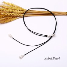 Aobei Pearl, Handmade Necklace with Freshwater Pearl and Genuine Leather, Pearl Necklace, ETS-S022