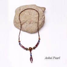 Aobei Pearl Handmade Necklace made of Ceramics, Natural Wooden Beads, Alloy Accessory and Wax Rope, Bohemian Necklace, Adjustable Necklace, Pendant Necklace, ETS-S464