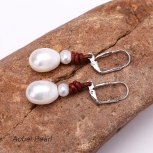 Aobei Pearl - Freshwater Pearl Earring, Handmade Women Earring on Genuine Leather Cord, Dangle Earring, ETS-E088