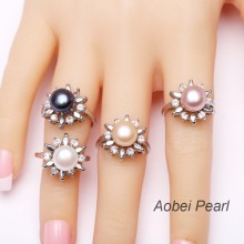 Aobei Pearl, Handmade Ring made of AAA Grade 8.5-9 mm Button Freshwater Pearl & Copper Accessory Plated with White Gold, Freshwater Pearl Rings, Sunflower Rings, ETS-J011