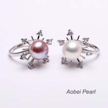 Aobei Pearl, Handmade Ring made of Freshwater Pearl and Copper Accessory Plated with White Gold, Pearl Ring, Bride Ring, ETS-J006