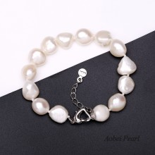 Aobei Pearl Handmade Bracelet made of Freshwater Pearl and 925 String Silver Clasp, Baroque Pearl Bracelet, Beaded Bracelet, ETS-B0034