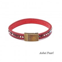 Aobei Pearl Handmade Bracelet made of Genuine Leather Cord, Alloy Accessory and Magnetic Clasp, Leather Bangle, Rivet Leather Bracelet, ETS-B280