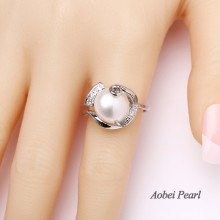 Aobei Pearl - Handmade Ring made of 11-12 mm Baroque Freshwater Pearl and Copper Accessory Plated With White Gold, Pearl Ring, Bride Ring, ETS-J013