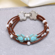 5-6 MM potato, 2.5 MM white pearl of 18 MM and 14 MM * turquoise turtle and real cowhide rope bracelet  ETS-B282