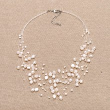 Fashion natural white freshwater pearl choker 16.53-19.6​8 inch beautiful necklace ETS-S037