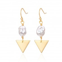Aobei Pearl Cultured Freshwater Pearl Earring Dainty Gold Trangle Dangle Earring Small Fish Hook Earring Handmade Pearl Jewelry for Women, ETS-E305
