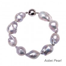 Aobei Pearl Handmade Bracelet made of Freshwater Nuclear Pearl and Round Magnetic Clasp, Pearl Bracelet, Baroque Pearl, Beaded Bracelet, Knotted Bracelet, ETS-B226