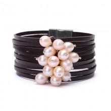 Aobei Pearl Handmade Bracelet with Rice Shape Freshwater Pearl and Genuine Leather, Pearl Bracelet, Wrap Bracelet, ETS-B336