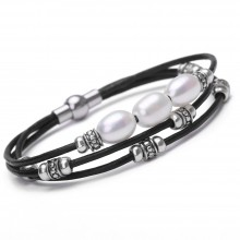 Aobei Pearl - Handmade Bracelet made of Freshwater Pearl, Alloy Accessory, Magnetic Clasp and Genuine Leather Cord, Leather Pearl Bracelet, Wrap Bracelet, ETS-B285