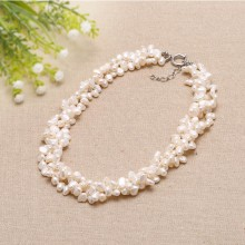 Fashion 6-7 mm white baroque freshwater pearl handmade 3 rows twisted necklace ETS-S031