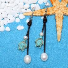 Aobei Pearl - Handmade Earring made of Freshwater Pearl, Tortoise Turquoise and Genuine Leather Cord, Pearl Earring, Dangle Earring, ETS-E193