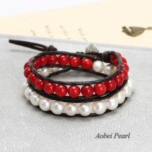 Aobei Pearl Handmade Bracelet made of Freshwater Pearl, Red Coral Beads, Genuine Leather Cord and Alloy Clasp, Wrap Bracelet, Pearl Bracelet, ETS-B188