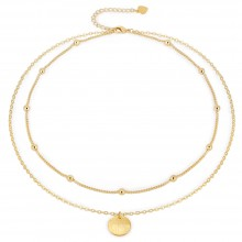 Aobei Pearl 18K Gold Satellite Chain Choker Necklace Cable Chain Link Necklace Handmade Adjustable Jewelry for Women, Layering Necklace, Brushed Karma Pendant Necklace, ETS-S1009