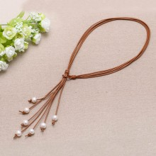 Wedding necklace 7 freshwater pearl necklace strand leather pearl necklace ETS-S012