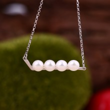 Aobei Pearl Handmade Necklace made of Freshwater Pearl, 925 String Silver Accessory, Adjustable Necklace, Pearl Necklace, Chain Necklace, Silver Necklace, ETS-S564