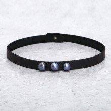 Aobei Pearl - Handmade Pearl Choker Necklace with Korean Velvet ( Suede ), Pearl Necklace, ETS-S602