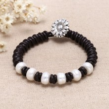 Pearl leather braided bracelet, pearl bracelet, leather bracelet, ETS - B0035