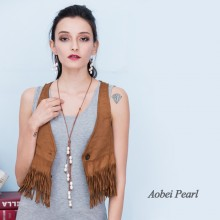 Aobei Pearl Handmade Necklace made of Freshwater Pearl and Smooth Genuine Leather Cord, Leather Pearl Necklace, ETS-S011