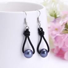 Aobei Pearl Boho Pearl Dangle Earrings on Genuine Leather Cord, Handmade Knotted Jewelry for Women, Hook Earring, ETS-E024