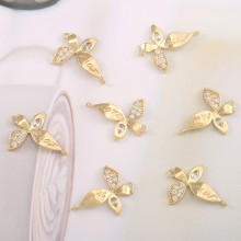 Aobei Pearl, 4 PCS from the Sale, 18K Gold Cubic Zirconia Butterfly Charm for Jewelry Making, Jewelry Findings, DIY Jewelry Material, ETS-K595