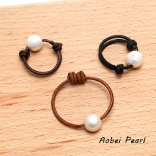 Aobei Pearl - Adjustable Pearl Ring on Genuine Leather Cord, Freshwater Pearl Ring, Leather Pearl Ring, Statement Ring, ETS-J034