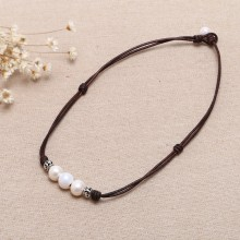 Aobei Pearl - 11-12 mm Potato Pearls Women Leather Necklace Adjustable Pearl Necklace Pearl Necklace,Genuine Freshwater Pearl,ETS-S226
