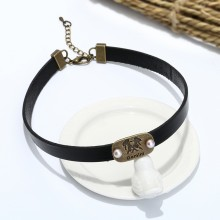 Aobei Pearl, Handmade 12 Constellations with Cultured Freshwater Pearl in Purple on Leather Cord, ETS-S579