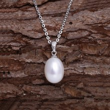 Aobei Pearl 925 Sterling Silver Chain Necklace Single Pearl Pendant Necklace Handmade Adjustable Jewelry for Women, June Birthstone Necklace, ETS-S632