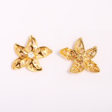 Aobei Pearl, 5 PCS from the Sale, 18K Gold-Plated Golden Flower Inlaid Zircon Jewelry Pendant for Jewelry Making, Jewelry Findings, DIY Jewelry Material,ETS-K1341