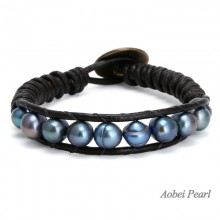 Aobei Pearl - Handmade Bracelet with Freshwater Pearl and Genuine Leather Cord, Pearl Bracelet, Wrap Bracelet, ETS-B083