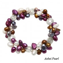 Aobei Pearl Handmade Bracelet made of 6-7 mm Melange of Baroque Freshwater Pearl & Alloy Accessory, Pearl Bracelet, ETS-B201