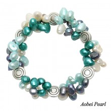 Aobei Pearl Handmade Bracelet made of 6-7 mm Melange of Baroque Freshwater Pearl & Alloy Accessory, Handmade Fashion Bracelet, ETS-B202