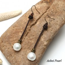 Aobei Pearl, Handmade Leather & Freshwater Pearl Earring,Pendant Earring, Dangle Earring, Leather Earring, Pearl Earring, ETS-E042