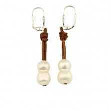 10-11mm of the gourd beads 2.5MM hole white pearls earring women leather and pearls earrings genuine freshwater pearls ,ETS-E092