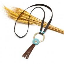Aobei Pearl, Korean velvet turquoise bead alloy ring tassel necklace, long pendant necklace, velvet necklace, ETS-S594