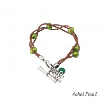 Aobei Pearl - Handmade Potato Freshwater Pearl, Genuine Leather Cord and Alloy Accessory, Wrap Bracelet, Pearl Bracelet, Charm Bracelet, Braided Bracelet, ETS-B0016
