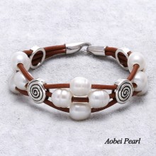 Aobei Pearl Handmade Bracelet made of Freshwater Pearl, Alloy Accessory and Genuine Leather Cord, Pearl Bracelet, ETS-B0025