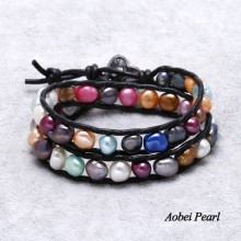 Aobei Pearl Handmade Colorful Baroque Freshwater Pearl & Genuine Leather Cord Bracelet, Sewing Bracelet, Wrap Bracelet, Pearl Bracelet, ETS-B0027