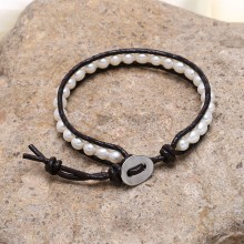 Aobei Paerl --- Wrap Bracelet made of Leather Cord & Potato Pearl for Fashion Shows, Pearl Bracelet, ETS-B0029