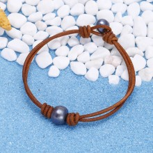 Aobei Pearl, Handmade Well Design Vintage Bracelet with Freshwater Pearl and Genuine Leather, Pearl Bracelet, ETS-B002