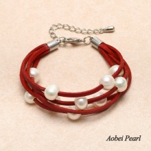Aobei Pearl Handmade Bracelet made of Flat Leather Korean Velvet and Freshwater Pearl, Wrap Bracelet, Pearl Bracelet, ETS-B0031